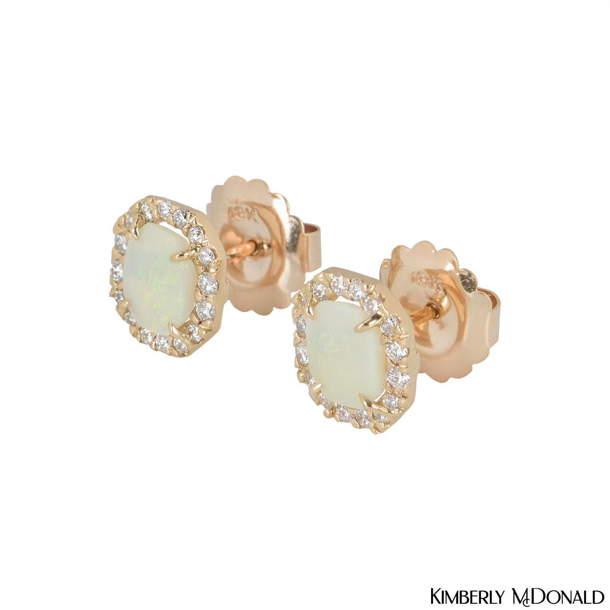 Kimberly McDonald Rose Gold Opal & Diamond Earrings